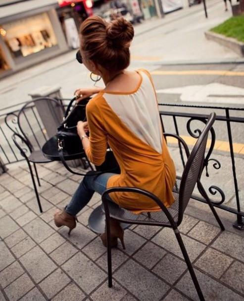blouse cute yellow sweater top t-shirt fall outfits fashion kawaii girly clothes mustard