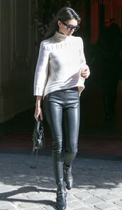sweater,kendall jenner,boots,leather leggings