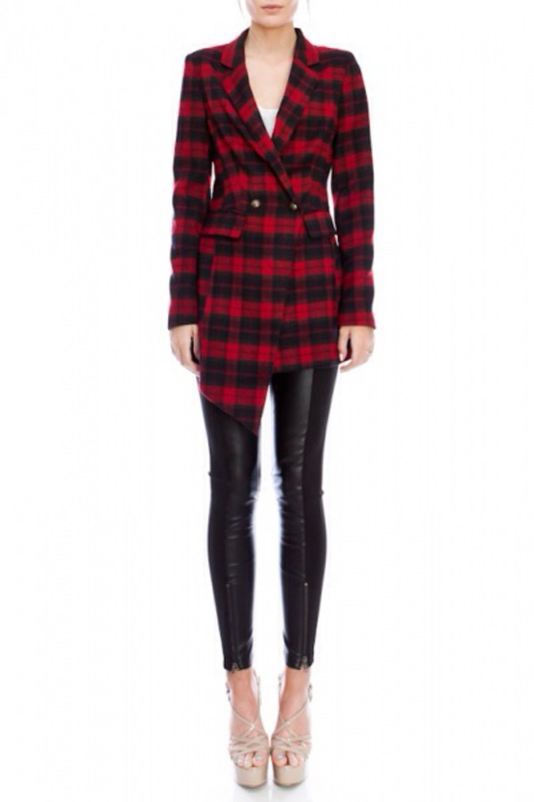 jacket fall outfits fashion checkered coat