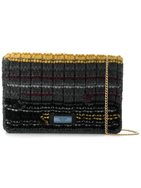 Prada women bag shoulder bag cotton grey
