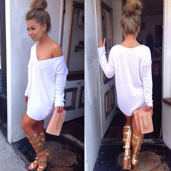 shirt dress off the shoulder sweater white