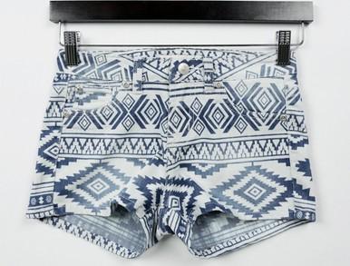 Tribal denim shorts