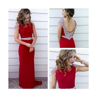 dress brec bassinger red dress red prom dress prom gown prom gown silver sequins silver sequin dress silver sequins maxi trendy open back sexy fashion style hot dressofgirl red prom dress