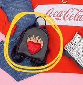 bag,flaming heart,flame heart,heart on fire,red,red heart,backpack,flames,fire,fire flames,heart,black,black bag