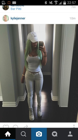 jeans kylie jenner white green hair white jeans white tank top hat all white everything tank top shoes boots grey boots girl pretty hair timberland classy jeans white cream kylie  jennner.r