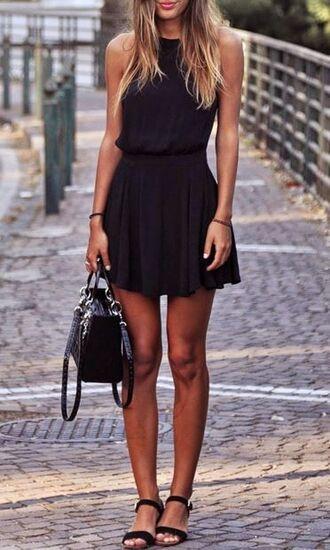 dress black skater skirt skater dress mini dress short dress