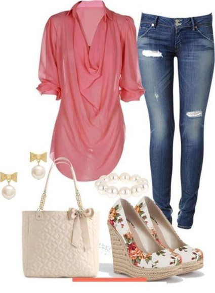 blouse chiffon coral shirt draped top pink jeans purse bows wedges floral peach coral