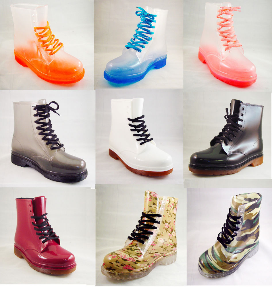 Fashion Jelly Clear Or Solid Color Rain Boots Lace Up