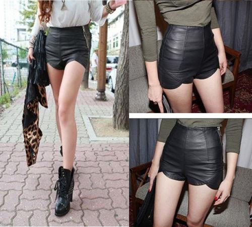 taille haute punk rock faux cuir slim fit asymétrique shorts pantalons femmes new hot dans  de  sur Aliexpress.com