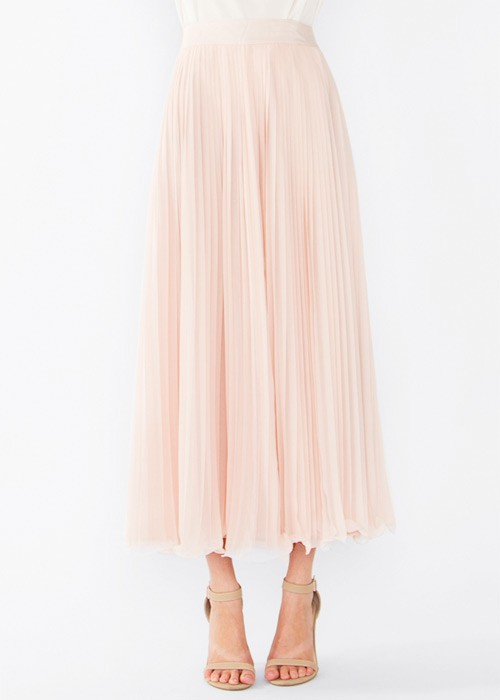 in Pleats Blush Pink Maxi Skirt