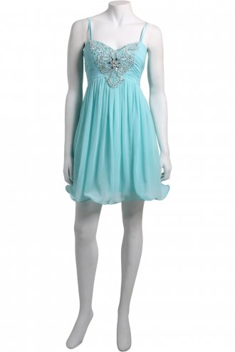 Little Mistress Turquoise Embellished Prom Dress