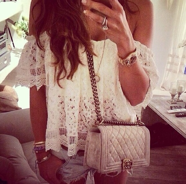 blouse offshoulder lace