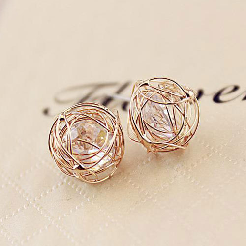 lulula-fashion shopping mall — [ghyxh3300935]European Style Chic Bird's Nest Rhinestone Studs