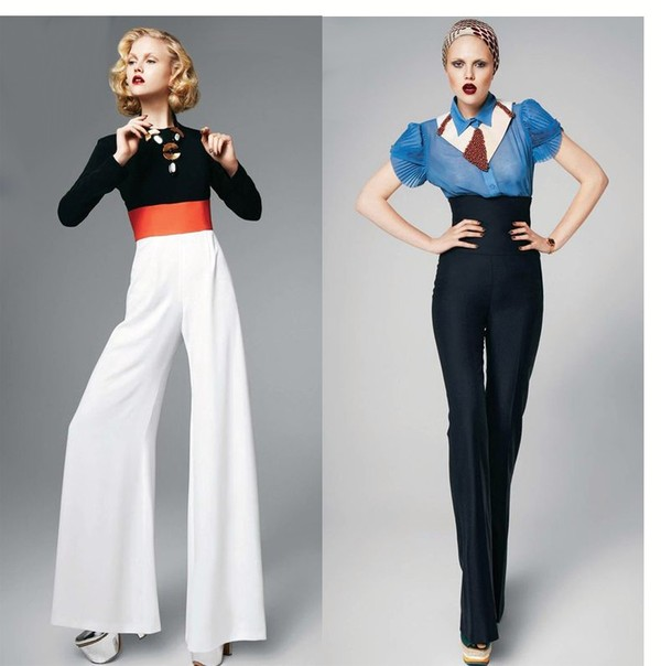 Pants: suit, high waisted, wide leg, wide-leg pants, white wide ...