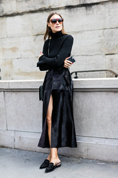 skirt,tumblr,black skirt,slit skirt,maxi skirt,all black everything,black top,top,long sleeves,turtleneck,knitted top,bag,slippers,black shoes,streetstyle,sunglasses,black turtleneck top,le fashion,blogger,sweater,shoes,black turleneck top,black pleated skirt,black mules,breakfastwithaudrey