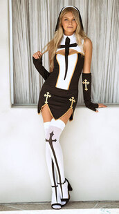 dress,music legs,yandy,costume,halloween costume,nun,halloween,sexy,sexy halloween accessory,black and white