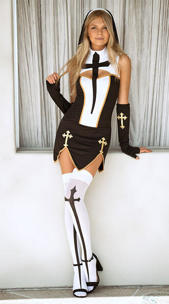 dress music legs yandy costume halloween costume nun halloween sexy sexy halloween accessory black and white