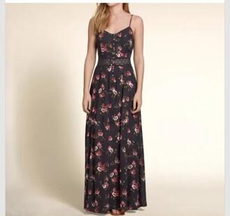 dress pattern lace waist maxi dress