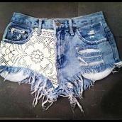 shorts,flowered shorts,girly,white,High waisted shorts,jeans,denim shorts,denim,lace,tumblr clothes