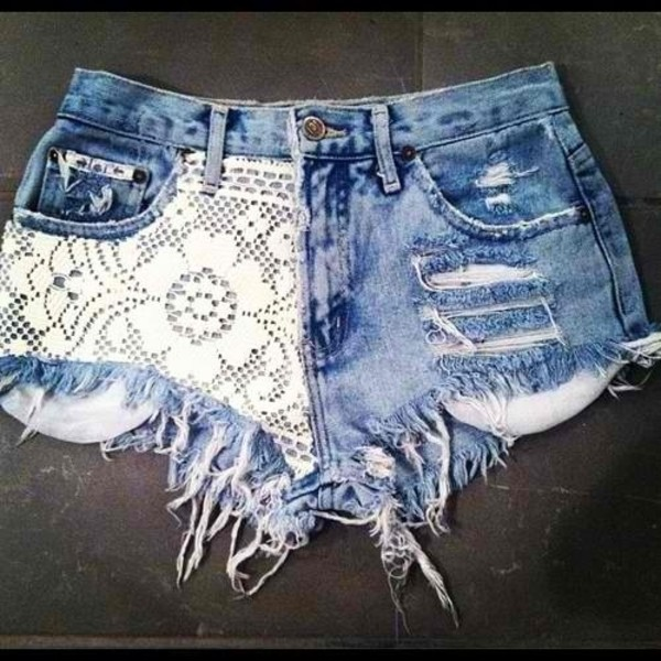 shorts flowered shorts girly white High waisted shorts jeans denim shorts denim lace tumblr clothes