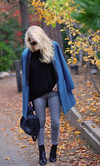 love maegan blogger sweater jeans coat bag sunglasses shoes fall outfits blue jacket handbag ankle boots grey jeans