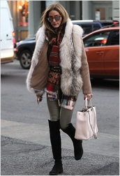 vest,fur vest,fall outfits,over the knee boots,olivia palermo,scarf,jeans,grey fur vest,sweater,beige sweater,sunglasses,mirrored sunglasses,thigh high boots