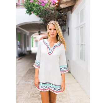 dress embroidered embroidery white white dress embroidered dress white tunic tunic tunic dress embroidered tunic pink aqua turquoise
