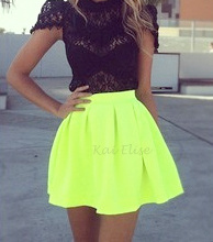 Neon Green Skater Skirt January 2017