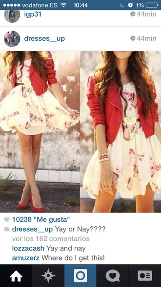 red dress floral dress spring outfits jacket red jacket