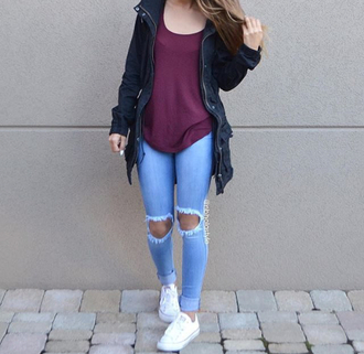 jeans ripped jeans jacket bomber jacket converse tennis shoes baggy shirt burgundy urban colorful