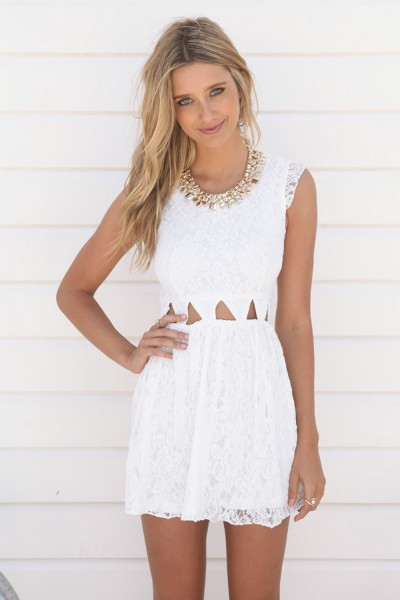 White Day Dress - Off White Sleeveless Lace Dress | UsTrendy