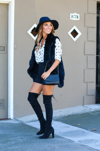 fashionborn blogger blouse faux fur vest high waisted shorts chanel bag black fur vest printed shirt shorts black shorts over the knee boots high heels boots boots black boots thigh high boots hat felt hat fedora