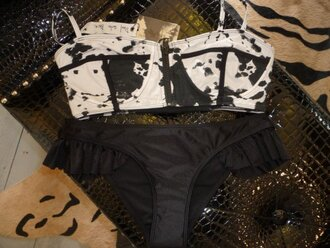 bikini acid wash ruffle black swimwear swimwear