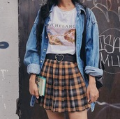 skirt,pleated,plaid,plaid skirt,mini skirt,box pleat,yellow,black,white,grey,mini,high waisted,skater