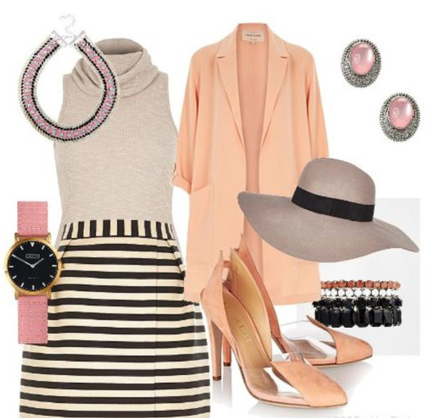 jewels swa style coral style elegant dress outfit idea fashion fashion shoes jacket skirt top hat