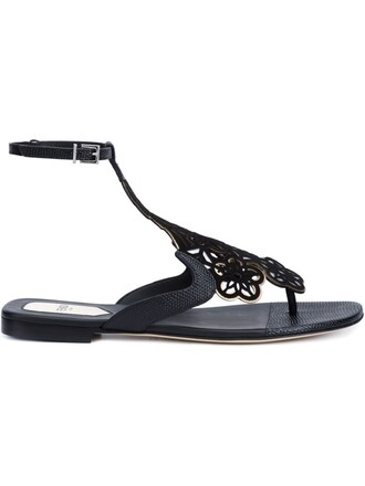 sandals flat sandals floral black shoes