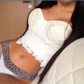 blouse,lace,white,black,grey,top,lace top,underwear,pajamas,panties,animal print,style,fashion,crop tops,crop,white crop tops,white top,white shirt