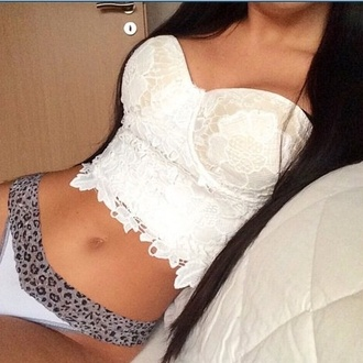 blouse lace white black grey top lace top underwear pajamas panties animal print style fashion crop tops crop white crop tops white top white shirt