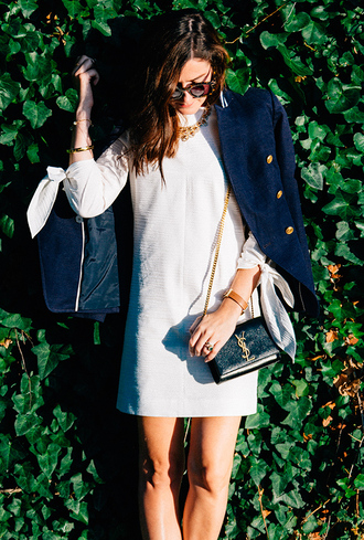 classy girls with pearls blogger dress jacket shoes bag jewels