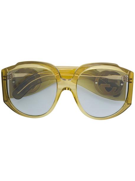Gucci Eyewear oversized metal women sunglasses green