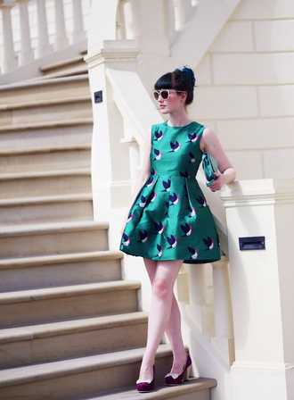 like a riot blogger birds green dress retro