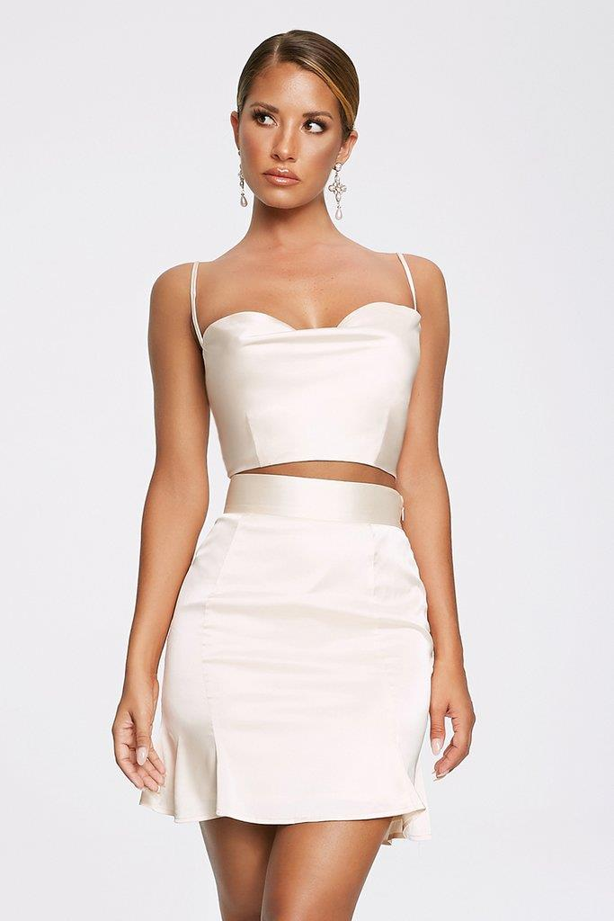 Madeline Cowl Front Crop Top - Ivory
