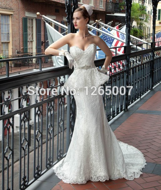 Aliexpress.com : Buy New Fashion Elegant Sweetheart Ivory Beaded Belt Ruffles Lace Mermaid Wedding Dress Elegant Lace Bridal Dress 2014 from Reliable dresses to wear out clubbing suppliers on SFBridal