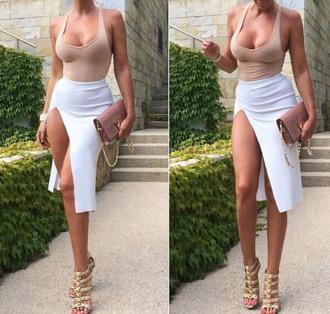 dress bodycon dress skirt nude dress sexy dress slit skirt nude beige