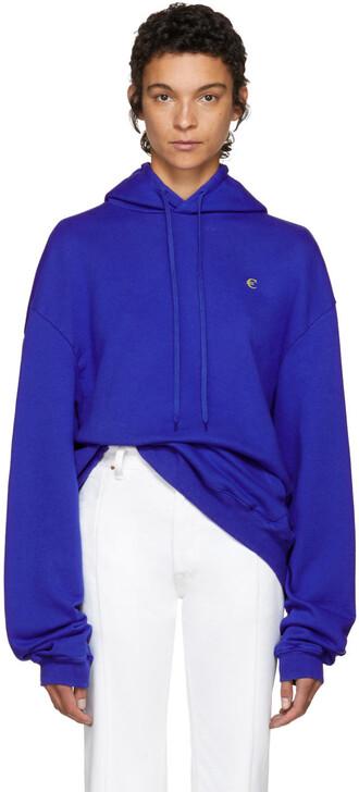 hoodie oversized blue sweater
