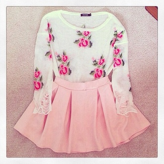 sweater pink skirt sweet lovely mint floral floral sweater skirt pink floral shirt girly blouse shirt rose flowers light pink pink flowers cute cute outfits light pink skirt and shirt pleated pastel