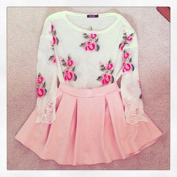 blouse pink skirt sweater sweet lovely mint green floral, white, pink, sweater, floral sweater, skirt pink girly floral shirt shirt rose, cute floral light pink pink flowers adorable cute outfits light pink skirt