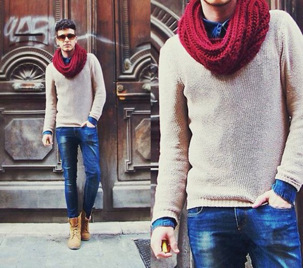 scarf red menswear mens sweater white sweater fashion sweater mens knitted scarf