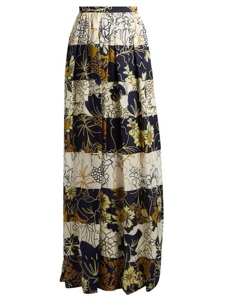 Roksanda skirt maxi floral print silk navy white