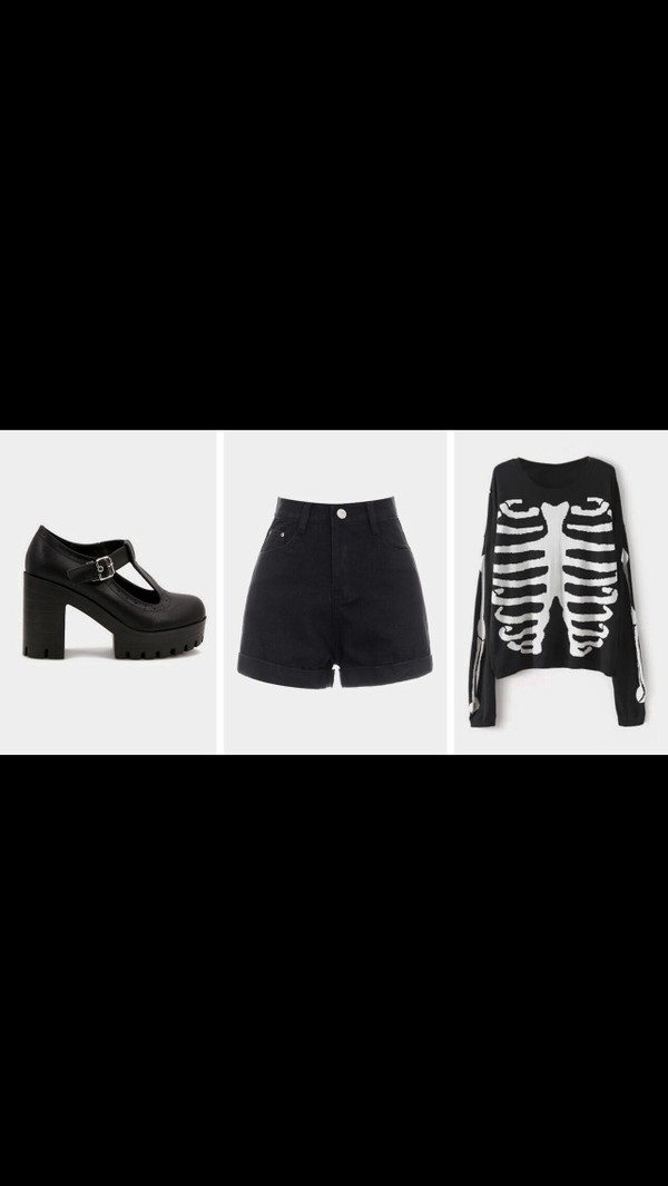 sweater skeleton black shoes